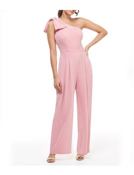 Petite Size Sylvia Bow One Shoulder Crepe Jumpsuit by Gal Meets Glam Collection