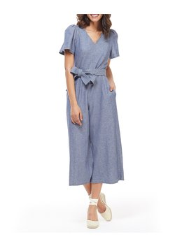 Billie V Neck Tie Waist Cropped Linen Jumpsuit by Gal Meets Glam Collection
