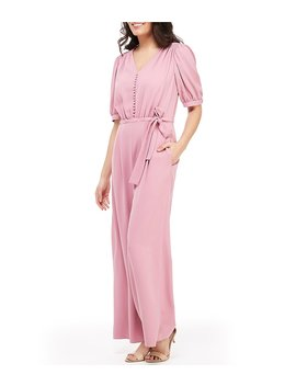 Gabriella Puff Sleeve Tie Waist Button Front Wide Leg Jumpsuit by Gal Meets Glam Collection