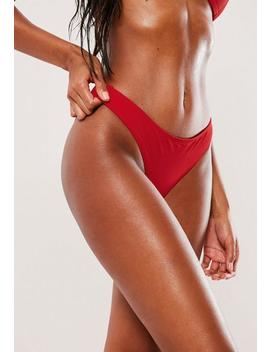 Red Mix And Match Hipster Minimal Bikini Bottoms by Missguided