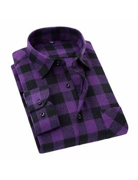 Etecredpow Mens Casual Checkered Plaid Flannel Long Sleeve Shirt by Etecredpow