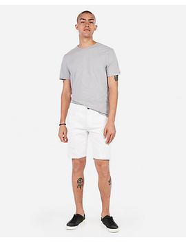 Slim 9 Inch White Stretch Distressed Denim Shorts by Express