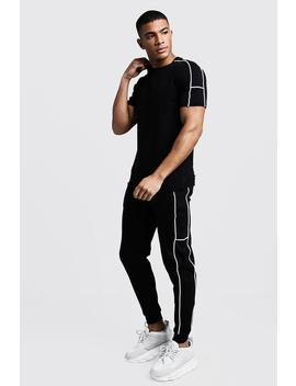 Embroidered T Shirt Tracksuit by Boohoo