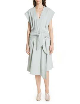 Chalky Drape Wrap Dress by Tibi