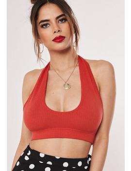 Red Jersey Halterneck Bralet by Missguided