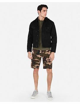 Black Hooded Stretch Denim Jacket by Express