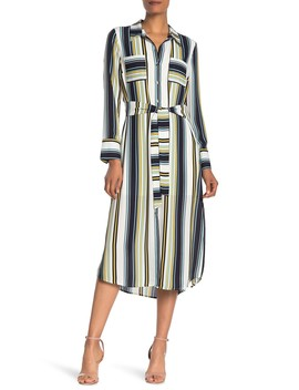 Long Sleeve Stripe Print Shirt Dress by Dr2 By Daniel Rainn