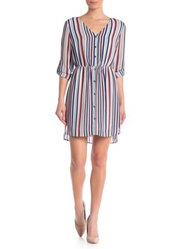 V Neck Stripe Print Dress by Dr2 By Daniel Rainn