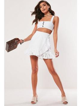 White Broderie Anglaise Frill Mini Skirt by Missguided