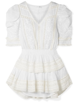 Marissa Tiered Crochet Trimmed Broderie Anglaise Cotton Voile Mini Dress by Love Shack Fancy