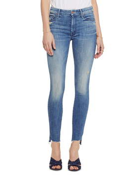 The Looker Frayed Step Hem Ankle Skinny Jeans by Mother