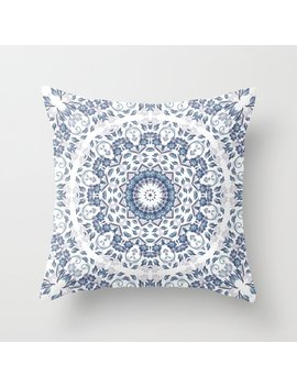 grayish-blue-white-flowers-mandala-throw-pillow by society6