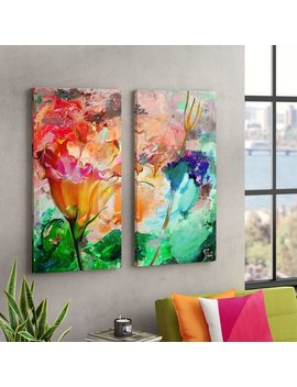 'painted Petals Lxi' 2 Piece Graphic Art Print Multi Piece Image On Canvas by Ebern Designs