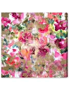 'wilderness Abstract Art' Oliver Gal Graphic Art On Canvas In Gold/Pink/Green by Oliver Gal