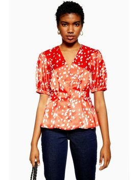 Red Pleated Dalmation Print Blouse by Topshop