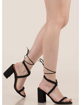 Girl In Braids Lace Up Block Heels by Go Jane
