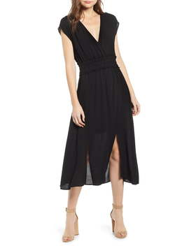 Leanne Double Slit Smocked Midi Dress by Wayf