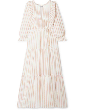Francesca Tiered Striped Cotton And Lurex Blend Voile Midi Dress by Apiece Apart