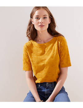 Flower Embroidered Elbow Sleeve Tee by Loft