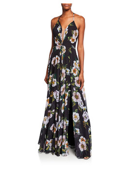 Floral Print Halter Gown With Lace Up Tie Back by Faviana