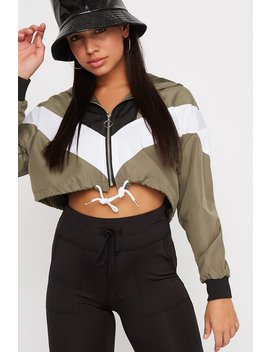 Colour Block Zip Drawstring Cropped Hooded Windbreaker by Urban Planet