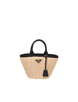 Wicker And Canvas Handbag by Prada