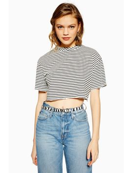 Stripe Raw Hem Crop T Shirt by Topshop