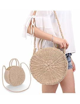 Obosoyo Straw Crossbody Bag Women Weave Shoulder Bag Round Summer Beach Sea Tote Handbags by Obosoyo