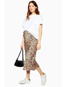 **Maternity Animal Print Satin Bias Skirt by Topshop