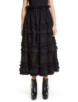 Horizontal Ruffle Twill Midi Skirt by Noir Kei Ninomiya