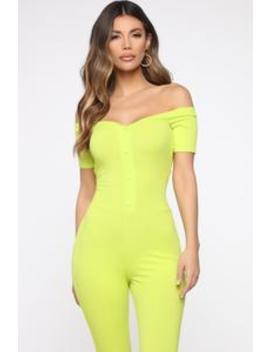 Foolish Ribbed Jumpsuit   Lime by Fashion Nova
