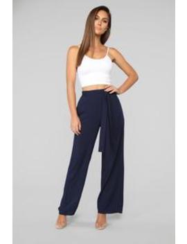 You're Worth My Time Tie Waist Pants   Navy by Fashion Nova