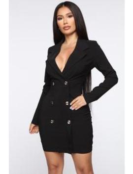 Enterprise Blazer Dress   Black by Fashion Nova