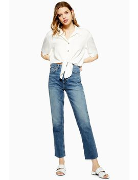 Mid Blue Raw Hem Editor Jeans by Topshop