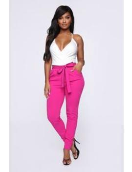 Don't Let Go Tie Waist Skinny Pants   Pink by Fashion Nova