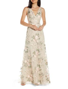 Tatum Floral Embroidered Tulle Evening Dress by Jenny Yoo
