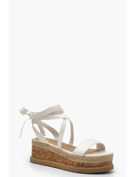 Wrap Strap Flatform Sandals by Boohoo