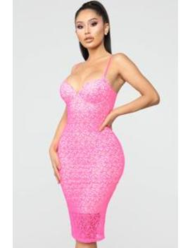 Rumor And Gossip Lace Dress   Neon Pink by Fashion Nova
