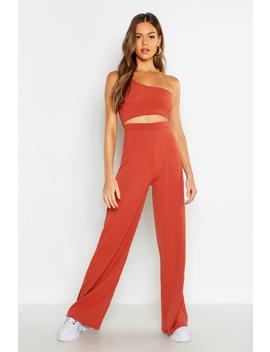 One Shoulder Rib & Wide Leg Trouser Co Ord by Boohoo