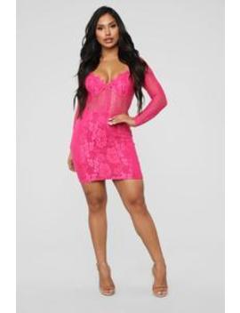 When In Rome Lace Mini Dress   Hot Pink by Fashion Nova