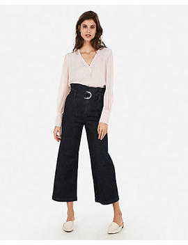 Mesh Sleeve V Neck Top by Express