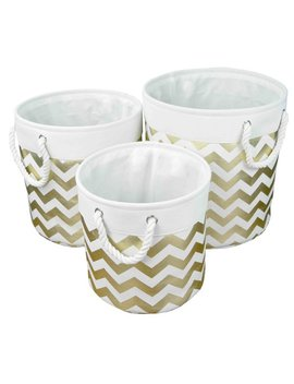 3 Piece Round Chevron Fabric Bin Set by Home Basics