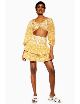 Yellow Printed Broderie Mini Skirt by Topshop