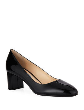 Patent Leather Round Toe 55mm Pump by Prada