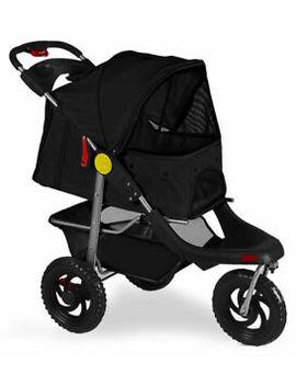 Pet Stroller Cat Dog 3 Wheel Walk Jogger Travel Folding Carrier Deluxe Black by Unbranded
