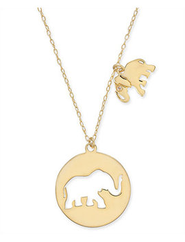 """Gold Tone Elephant Cut Out Pendant Necklace, 15 1/2"""" + 3"""" Extender by Kate Spade New York"""