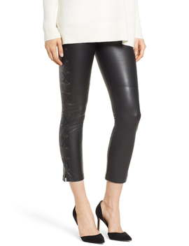 Gemma Lace Up Side Faux Leather Leggings by David Lerner