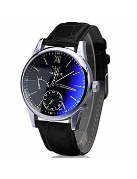 Han Shi Wristwatch, Mens Luxury Fashion Faux Leather Blue Ray Glass Quartz Analog Watches by Han Shi