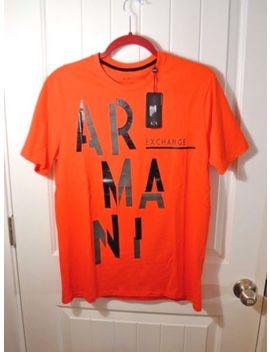 Nwt Men's Armani Exchange Orange Black Crew T Shirt Slim Fit Sz M L by Armani Exchange