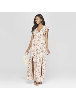 Women's Floral Print Sleeveless V Neck Smocked Waist Maxi Dress   Xhilaration Pink S by Neck Smocked Waist Maxi Dress